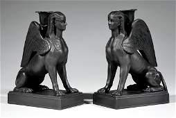 Pair of Regency Wedgwood Black Basalt Sphinxes
