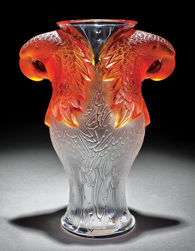"Lalique ""Macao"" Frosted Amber, Clear Crystal Vase"