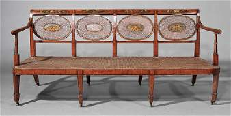 George III Polychromed Satinwood and Caned Settee