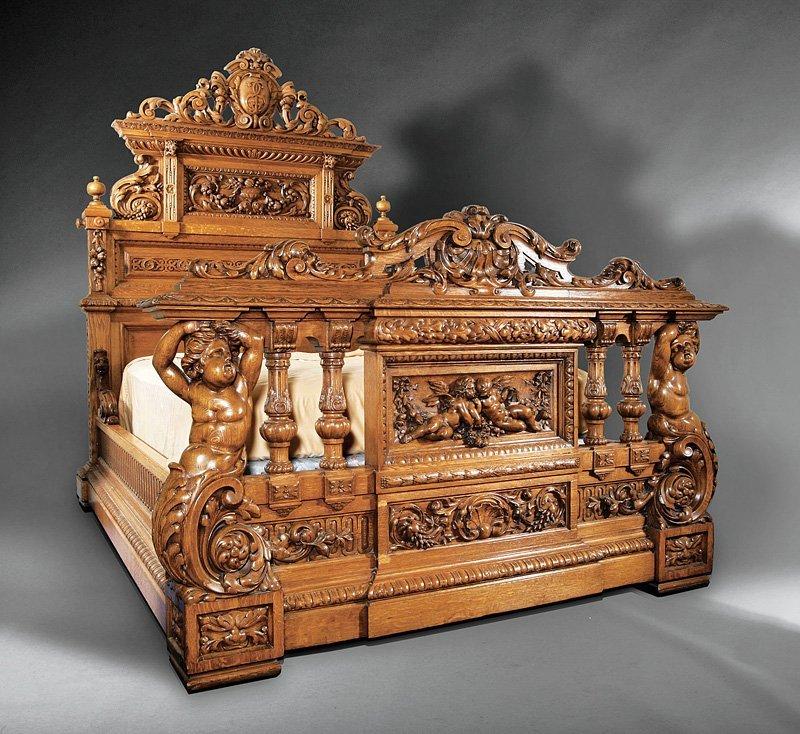 American Renaissance Carved Oak Bedroom Suite
