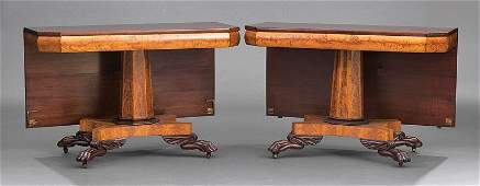 Carved Cherrywood and Satinwood Dining Table