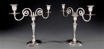 Pair of English Silverplate Two-Light Candelabra