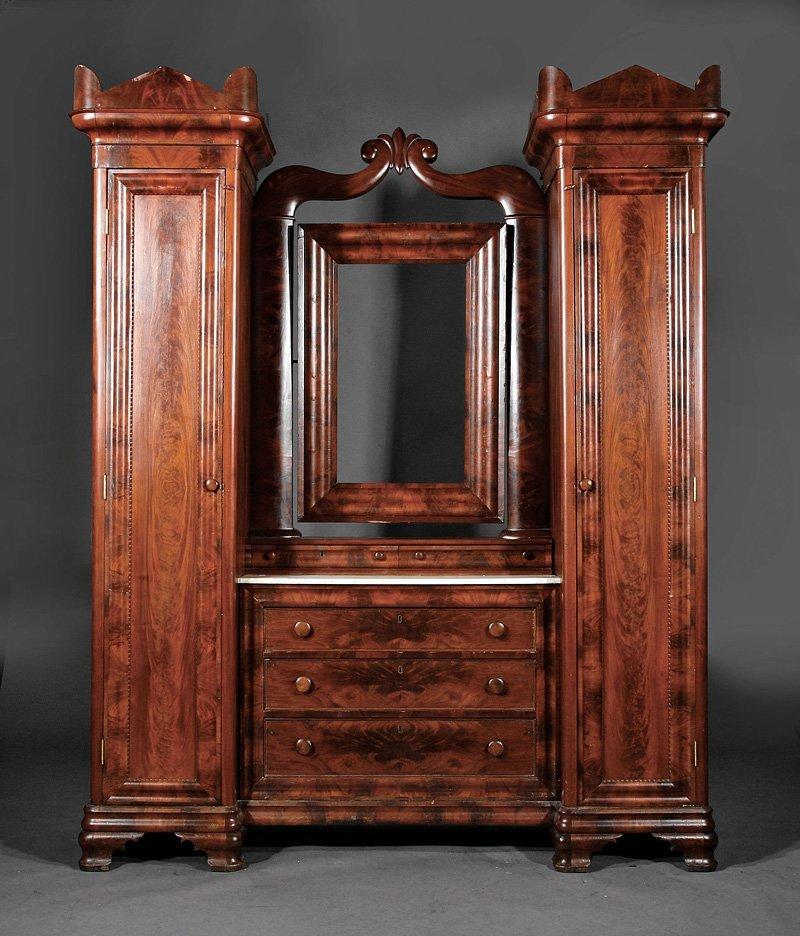An American Late Classical Mahogany Wardrobe