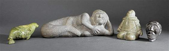 Four Eskimo Carved Stone Sculptures