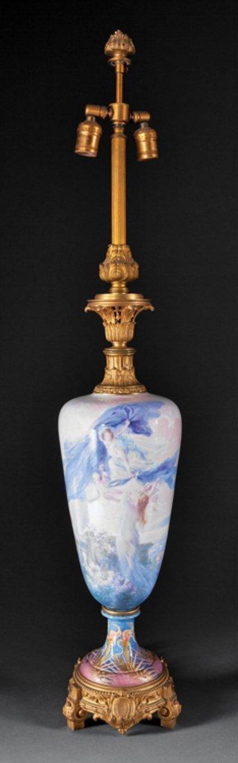 French Art Nouveau Gilt Bronze Porcelain Lamp