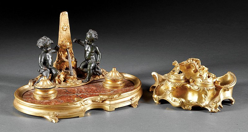 Gilt Bronze-Mounted Rouge Marble Figural Encrier