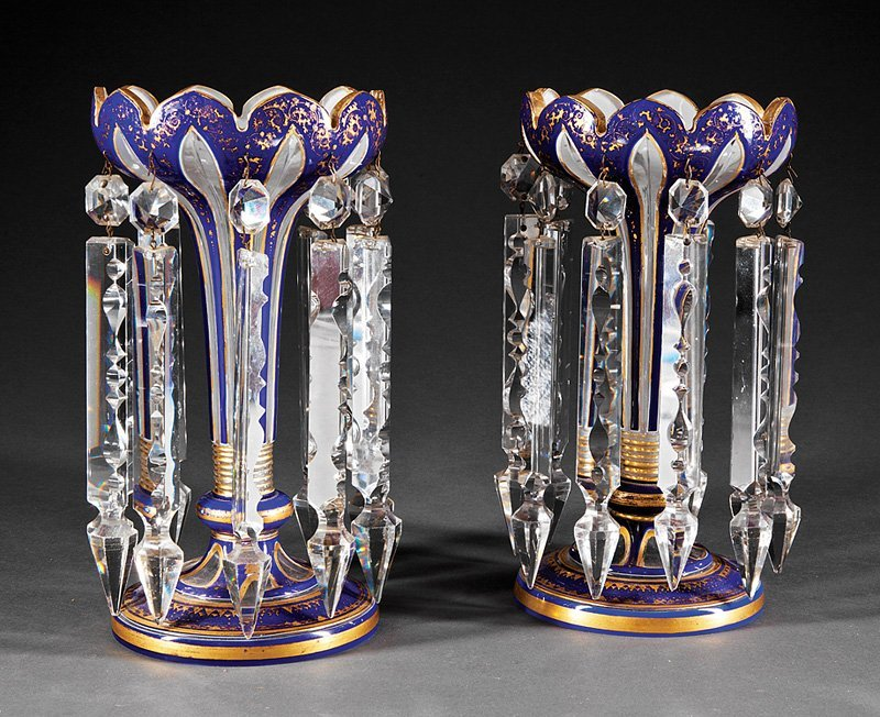 French Gilt-Decorated Cobalt Blue Glass Lustres
