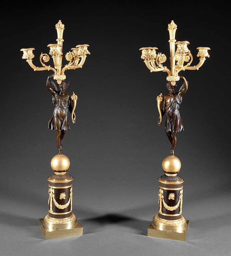 Empire-Style Gilt and Patinated Bronze Candelabra