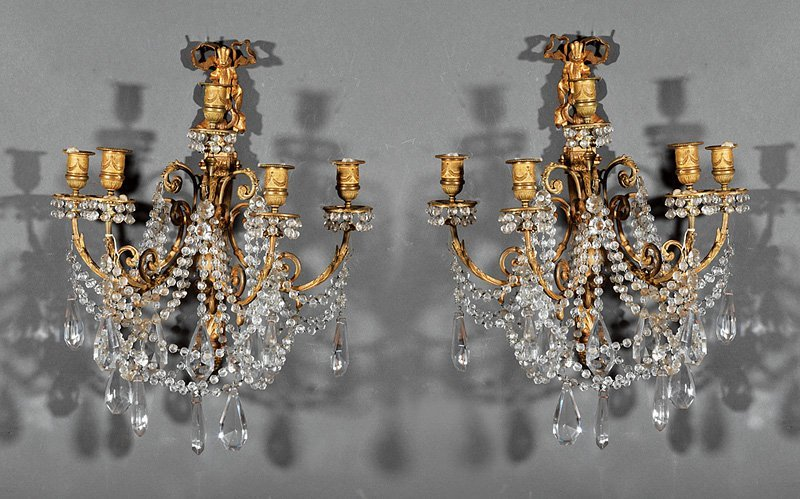 Louis XVI-Style Gilt Bronze and Crystal Sconces