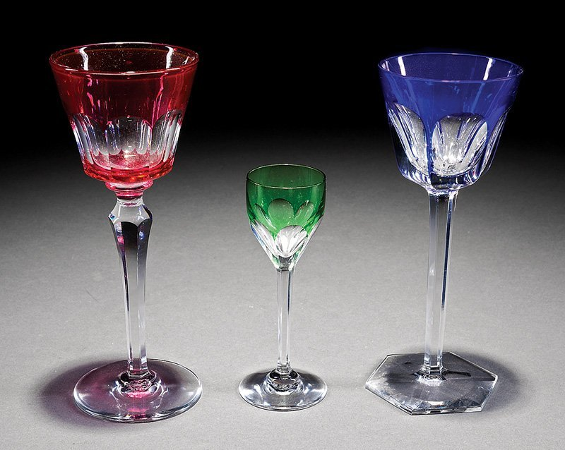 Collection of Baccarat Colored Crystal Stemware - 2
