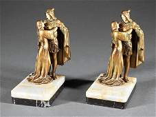 Pair of French Gilt Bronze Figural Bookends