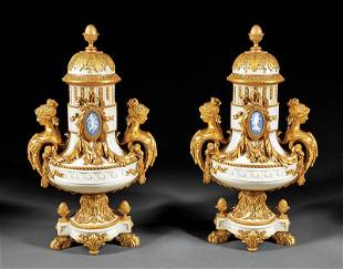 Bronze, Wedgwood Jasperware-Mounted Marble Urns