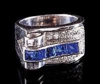 Cartier Platinum Sapphire and Diamond Ring