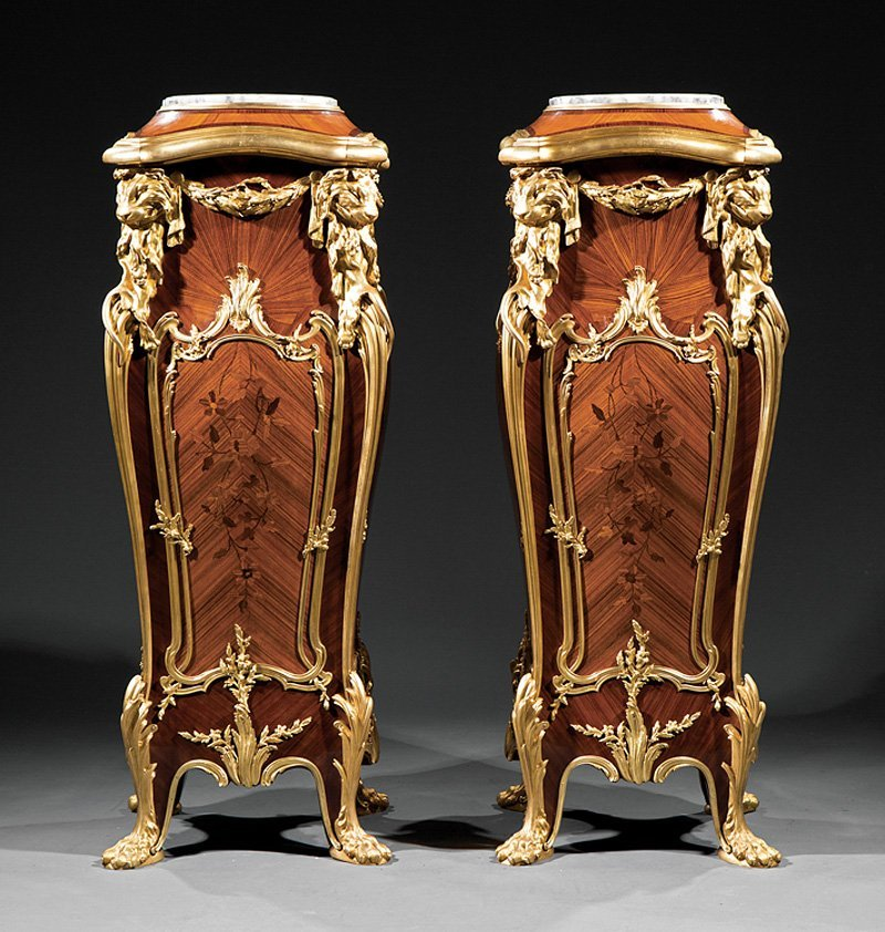 Dore Bronze-Mounted Inlaid Kingwood Pedestals