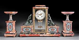 French Art Deco Clock Garniture