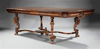 Georgian Revival Burled Walnut Dining Table