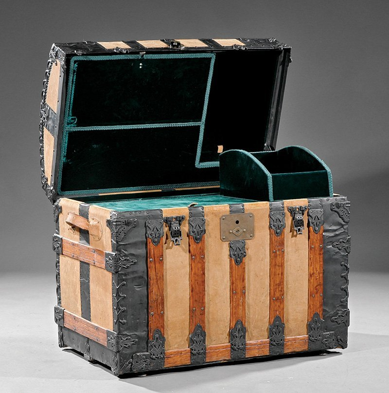 Victorian Oak, Suede and Metal Steamer Trunk - 2