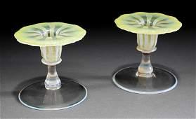 Tiffany Favrile Yellow Pastel Glass Candlesticks