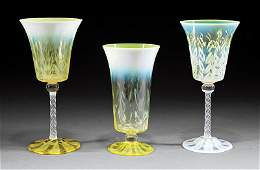 Tiffany Favrile Yellow Pastel Vase  Two Goblets