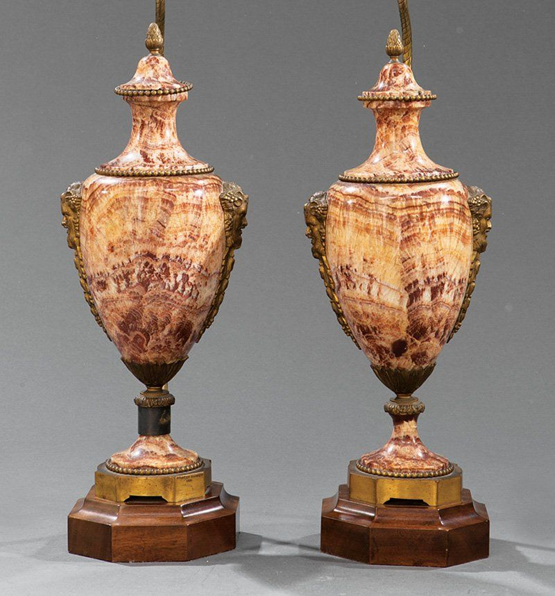 Gilt Bronze-Mounted Hardstone Covered Urns