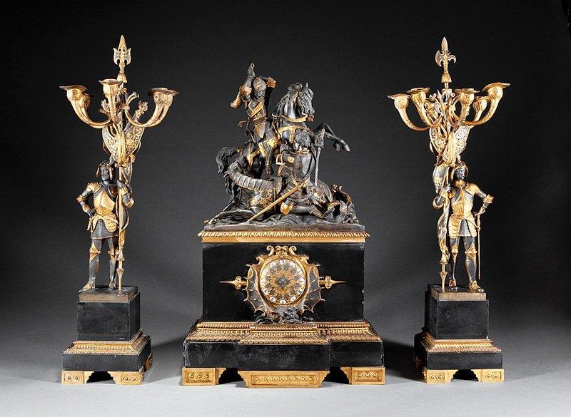 Gilt, Bronze-Mounted, Marble Clock Garniture
