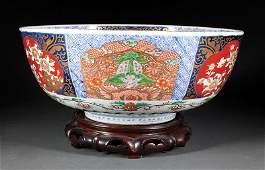 Japanese Imari Porcelain Punch Center Bowl