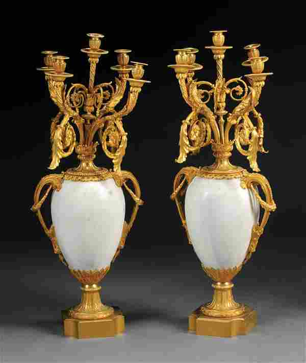 Pair Gilt Bronze-Mounted White Marble Candelabra