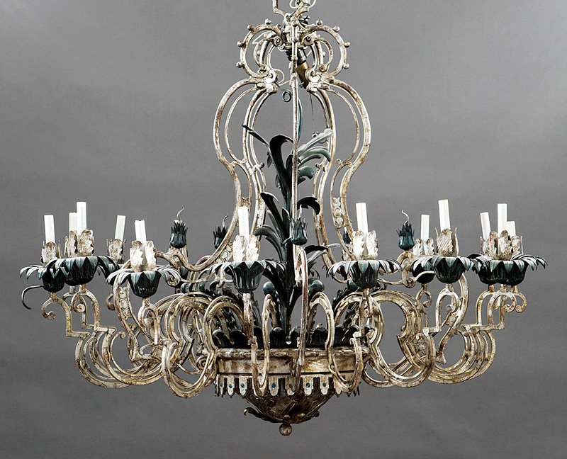 Patinated Iron and Tole Fifteen-Light Chandelier