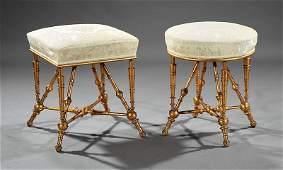 Two American Aesthetic Giltwood Stools