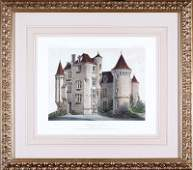 Six Hand-Colored Lithographs of French Chateaux
