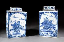 Pair of Chinese Export Blue and White Tea Cannisters