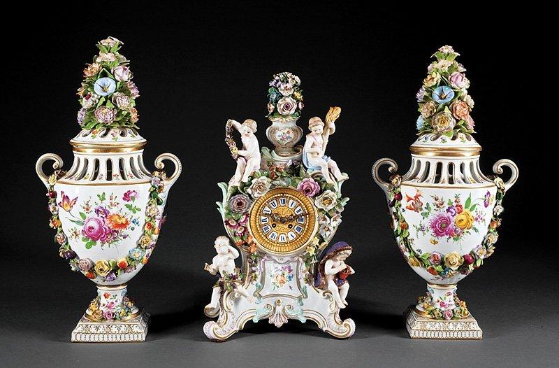 German Porcelain Three-Piece Clock Garniture