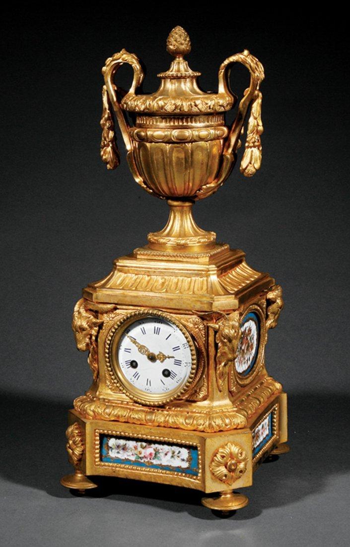 Louis XVI-Style Porcelain-Mounted Mantel Clock
