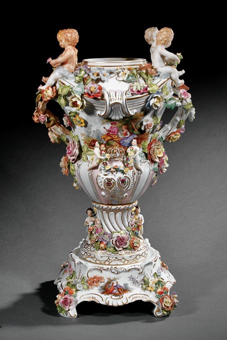 Dresden Porcelain Urn, SP Dresden mark