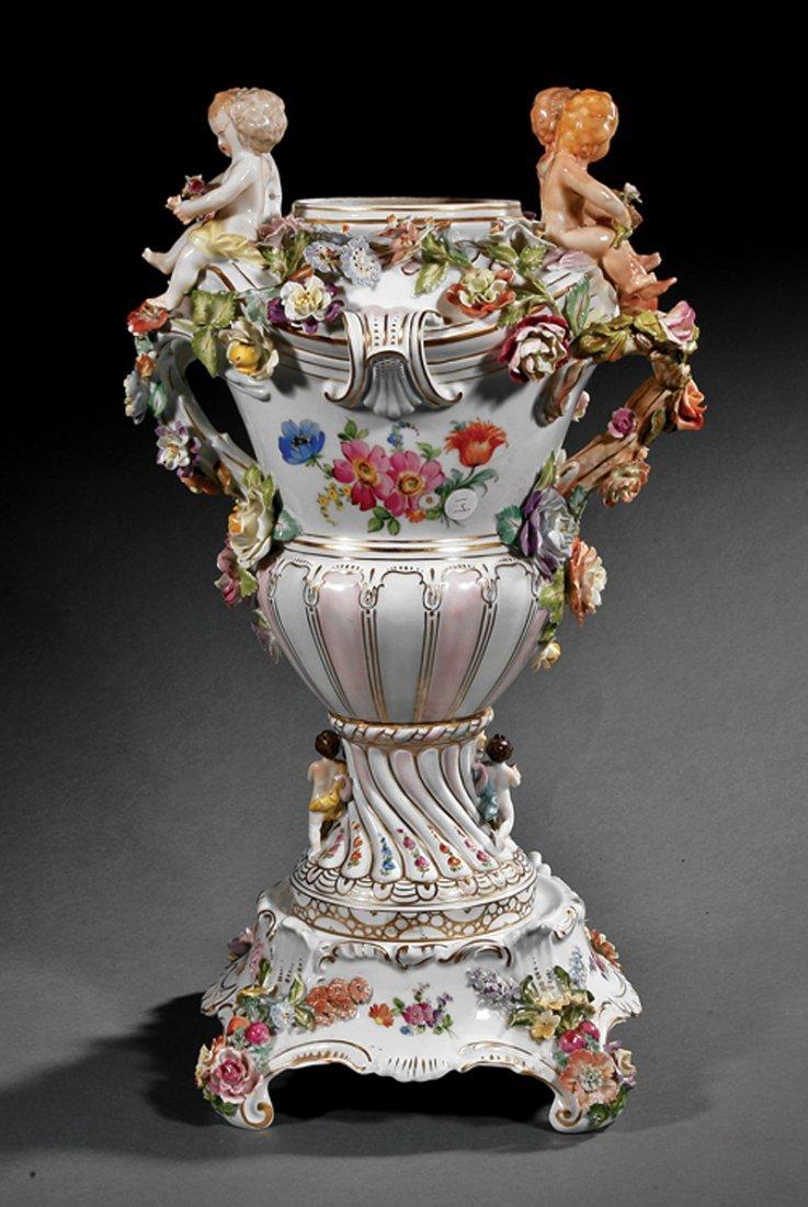 Dresden Porcelain Urn, SP Dresden mark - 3