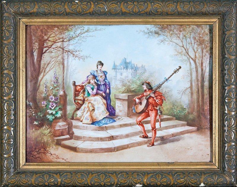 "Antique French Porcelain Plaque, signed ""Conlaud"""