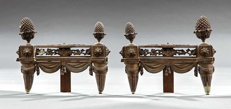 Pair of Neoclassical-Style Bronze Chenets