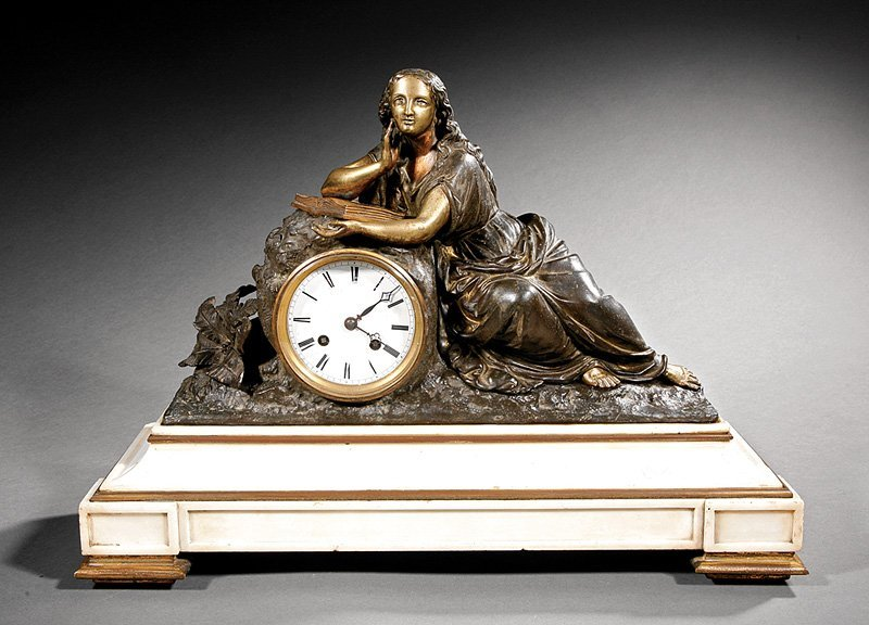 Napoleon III Gilt Bronze and White Marble Clock