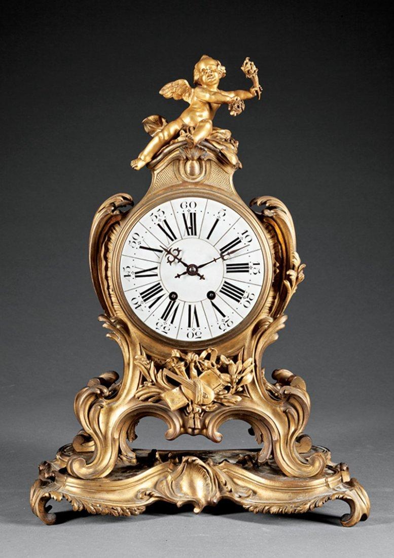 Louis XV-Style Gilt Bronze Mantel Clock