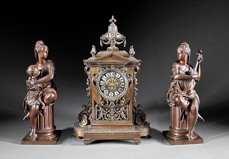 Beaux Arts Patinated Three-Piece Clock Garniture