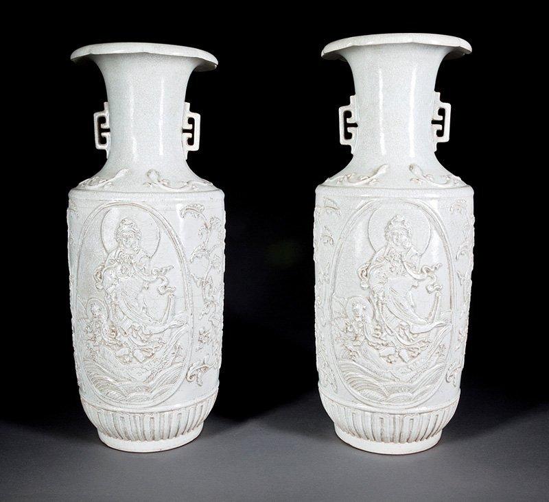 Pair of Chinese White Glazed Porcelain Vases