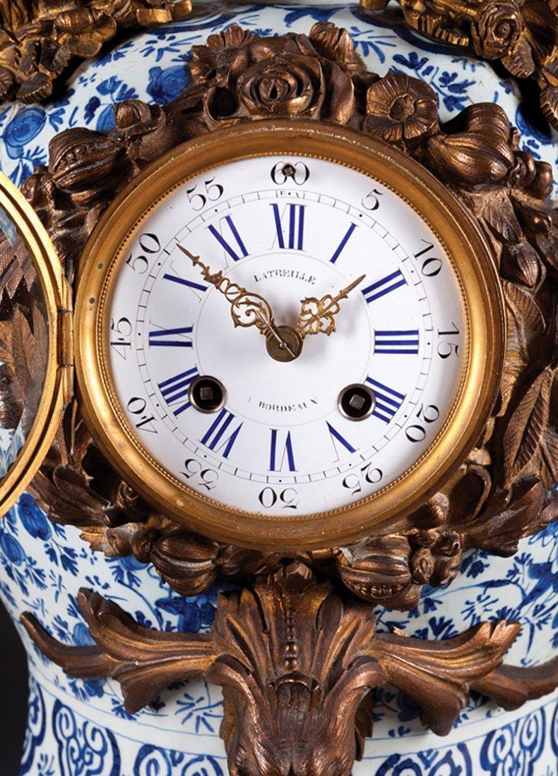 French Gilt Faience Three-Piece Clock Garniture - 2