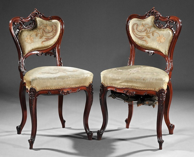 Pair of Art Nouveau Carved Mahogany Side Chairs