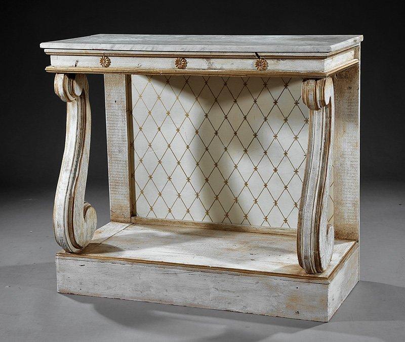 Swedish Classical-Style Creme Peinte Pier Table