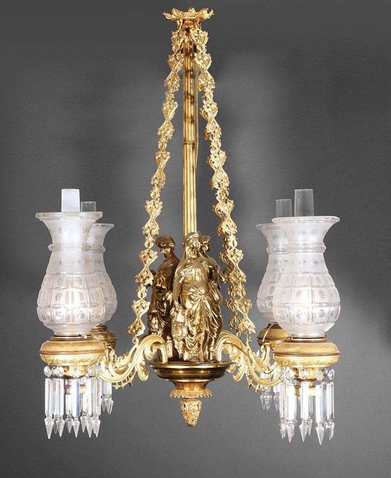 American Brass Four-Light Solar Chandelier