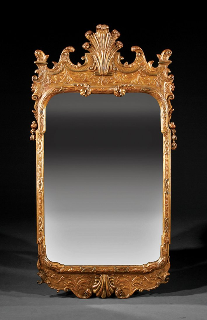 George II-Style Carved Giltwood Mirror
