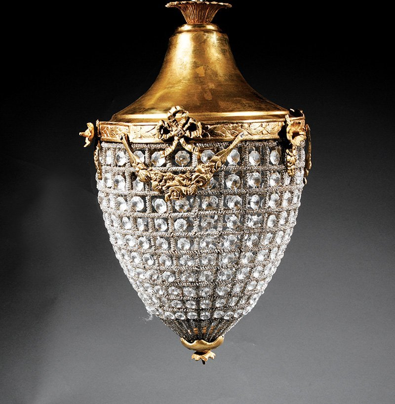Pair Gilt Bronze and Cut Glass Lanterns