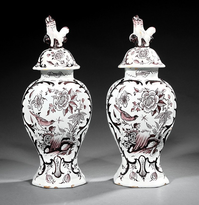 Delft Manganese and White Pottery Covered Vases