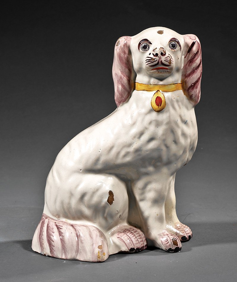Delft Manganese Decorated Pottery Spaniel