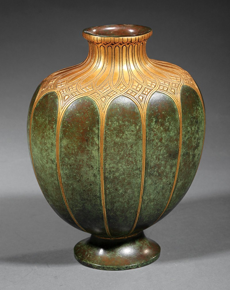 Maison Christofle Gilt and Patinated Bronze Vase